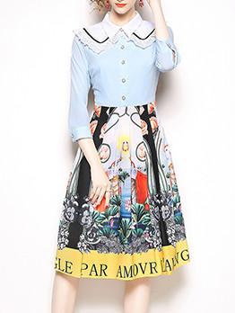 Graceful Lace Detail Printed Letter Vintage Dresses