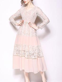 Lace Patchwork Chiffon V Neck Elegant Dresses