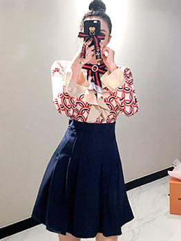 Elegant Printed Contrast Color Bow Ruffle Dress