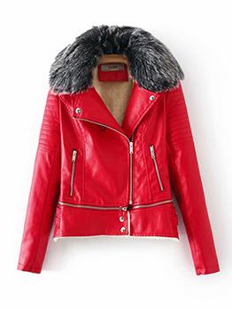 Winter Fur Zipper Up Pu Womens Jacket