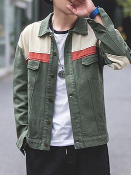 Fashion Single-Breasted Colorblock Loose Mens Jacket