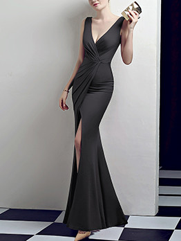 Sexy V Neck Split Ladies Evening Dresses