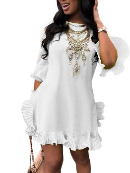 Hot Sale Solid Pleated Irregular Solid Women Dress