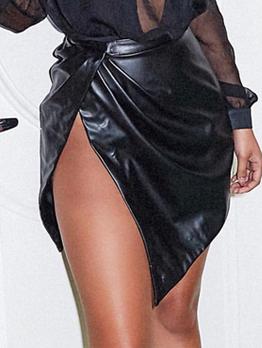 Sexy Hot Sale Asymmetrical Black Pu Short Skirt