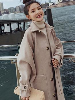 Chic Solid Loose Turndown Collar Long Coat