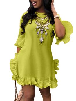 Hot Sale Crew Neck Stringy Selvedge Loose Dress
