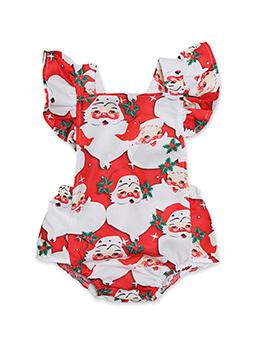Summer Santa Printed Ruffles Baby Onesies