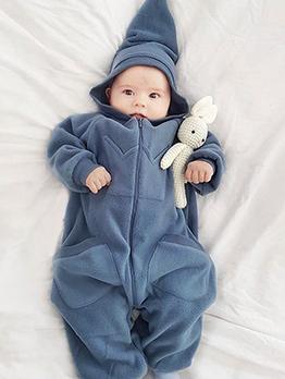 Winter Hooded Neck Pocket Zipper Baby Pajamas