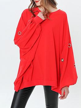 Fashion Bat Sleeve Round Ring Loose Sweatshirt