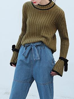 Fashion Crew Neck Flare Sleeve Bow Wool Sweater