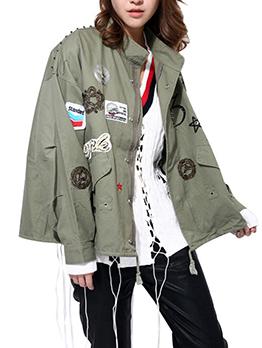 Fashion Rivets Badge Patchwork Loose Baseball Coat