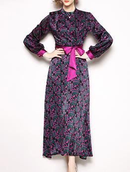 Elegant Printed Binding Bow Vintage Dresses
