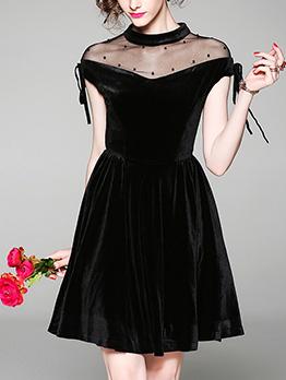 Gauze Patchwork Velvet Tie-wrap Black Short Sleeve Lady Dress