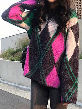 Korean Design Contrasting Colors Loose Sweater
