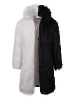 Fashion Loose Color Block Personality Faux Fur Coat