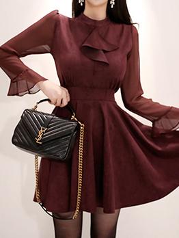 Korean Stand Collar Patchwork Ruffles Elegant Dresses