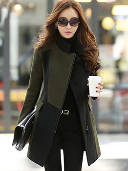 Stylish Zipper Irregular Fitted Cheap Womens Winter Coats