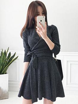 Korean Tie-wrap A Line Knit Dress