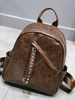 Simple Design Solid Versatile Casual Women Backpacks