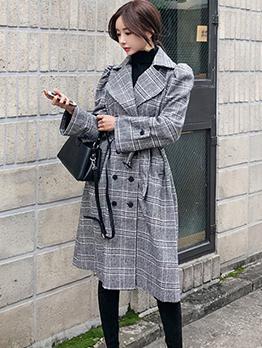 Korean Design Plaid Lapel Double-Breasted Long Coat