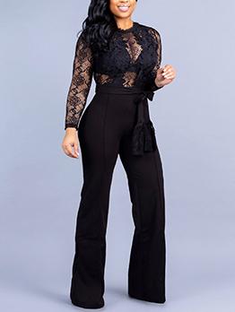 Hot Sale Solid Lace Hollow Out Black Jumpsuit