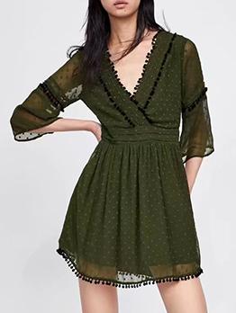 Casual V Neck Green Chiffon Long Sleeve Dresses