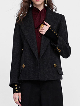Lapel Buttons Plaid Double-Breasted Black Blazer