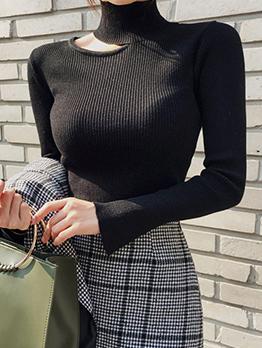 Korean High Neck Hollow Out Warm Black Knit T-Shirt