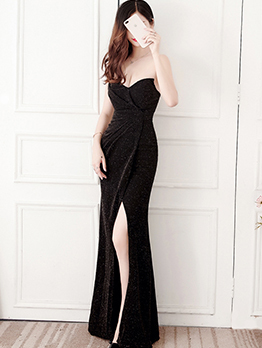 Sexy V Neck Split Strapless Simple Evening Dress