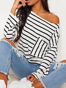 Striped Boat Neck Matching Wholesale T-Shirt