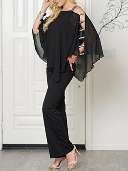 Fall Sequined Off Shoulder Black Jumpsuit For Women