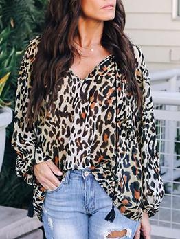 V-Neck Leopard Print Loose Women Blouse