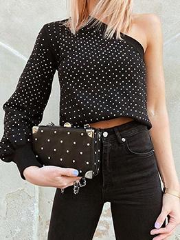 Fashion One Shoulder Polka Dots Short T-Shirt
