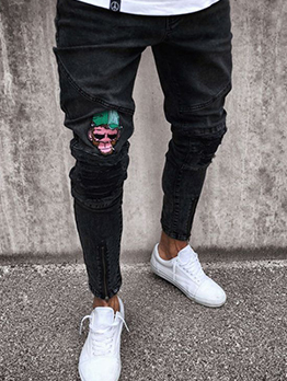 Fitted Patch High Waist Rinse Men Ripped Jeans
