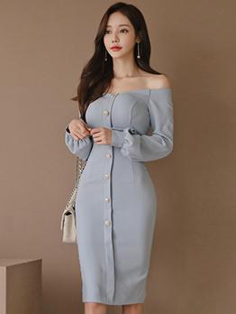 Button Longline Lantern Sleeve Off The Shoulder Dress