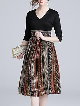 Euro Patchwork Multicolored V Neck Elegant Dresses