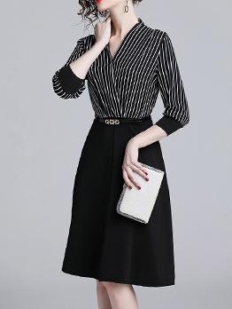 Striped Patchwork V Neck Black Long Sleeve Dress
