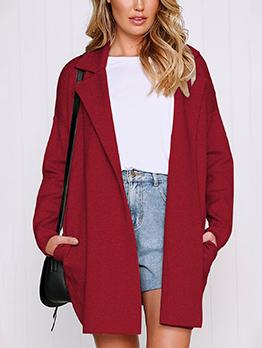 Fashion Lapel Solid Loose Long Woolen Blend Coat