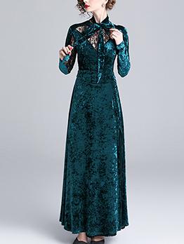 Velvet Patchwork Lace Binding Bow Elegant Evening Dresses