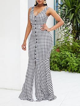 Sexy Polka Dot Backless Fishtail Floor Length Dress