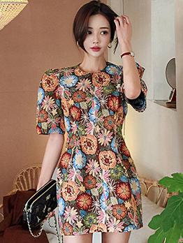 Korean Jacquard Weave Puff Sleeve Elegant Dress