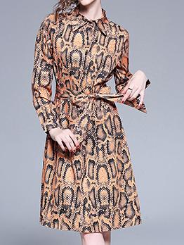 Snake Print Turndown Collar Binding Bow Shirt Dress