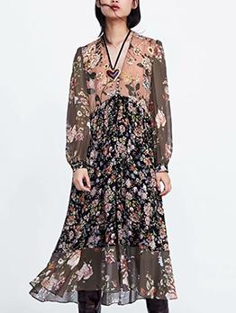 Fashion Chiffon V Neck Floral Dresses