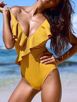 Sexy Spaghetti Straps Ruffles Yellow Bodysuits