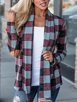 Contrast Color Plaid Cardigan Coat For Women