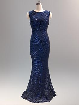 Sequined Boutique Crew Neck Fitted Elegant Eveing Dresses