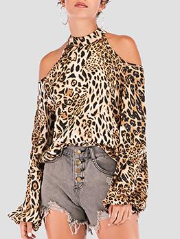 Cold Shoulder Lantern Sleeve Leopard Print T-Shirt