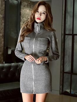 Stand Collar Zipper Bodycon Grey Knit Dress