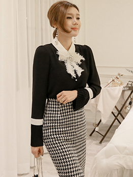 Korean Design Flare Sleeve Pearl Woman Blouse