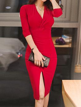 Ladies V Neck Slit Fitted Twist Dress